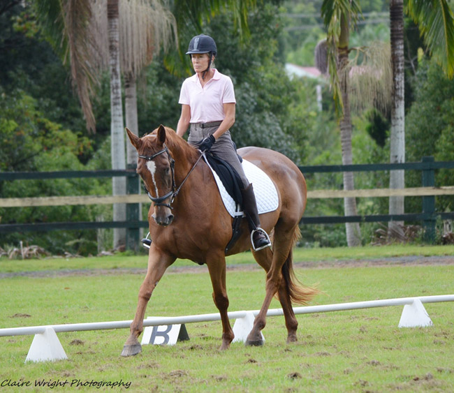 Patti Brewer competing with Lovely Legs at a training day in Bangalow, 16/02/2013