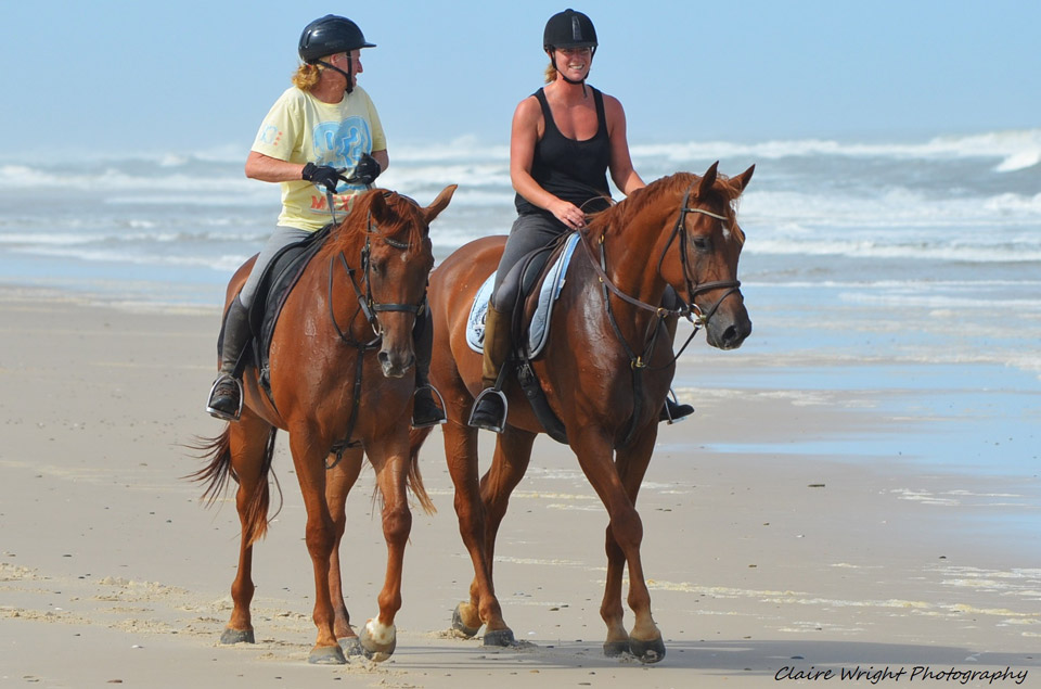 Sally on racehorse Kevin and Michaela on A Sydney Boy