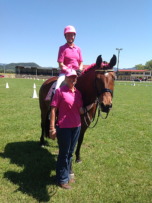 "Sue and Sally on CC at the ""Power of Pink Dressage"" 2013 in Murwillumbah"