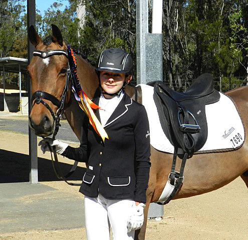 Poppy Ellis-Southwell and B'Seduced  (aka Mr Tickles), winner of the Elementary Freestyle, Australian Young Rider Championship 2014