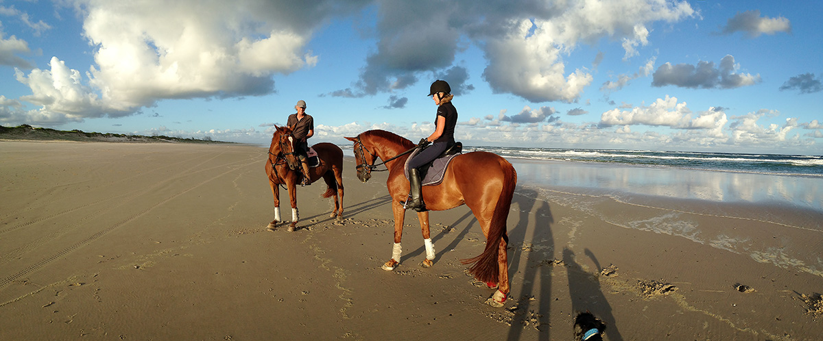 Patti on Penny and Nick on Leg, Patches Beach Feb 2016