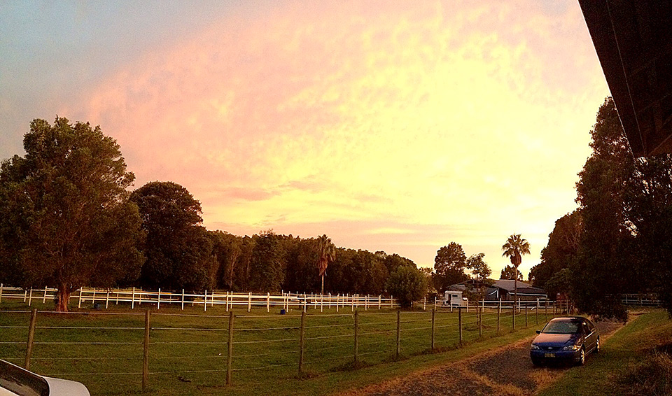Sally's Dressage Stables at dusk 2016